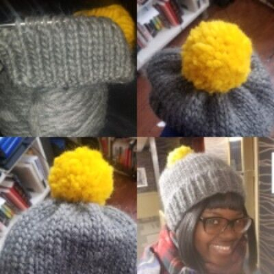 various progress stage of hand-knit hat called put a pom on it the last picture in the frame is a black woman in the completed hat