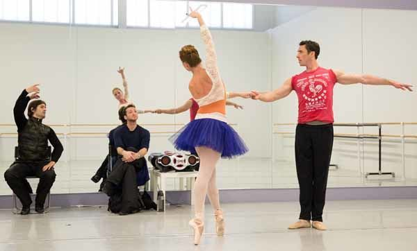 Principal Dancer Brooke Moore and Soloist James Ihde rehearsing George Balachine's The Nutcracker with Artistic Director Angel Corella and Ballet Master Zachary Hench.