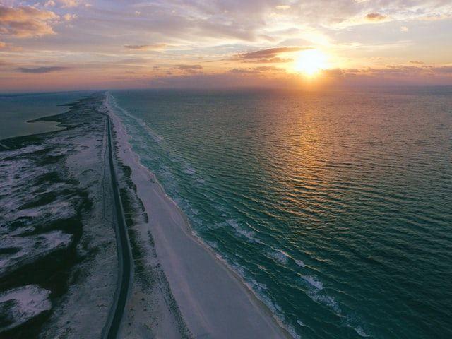 Overhead image of beach coastal line