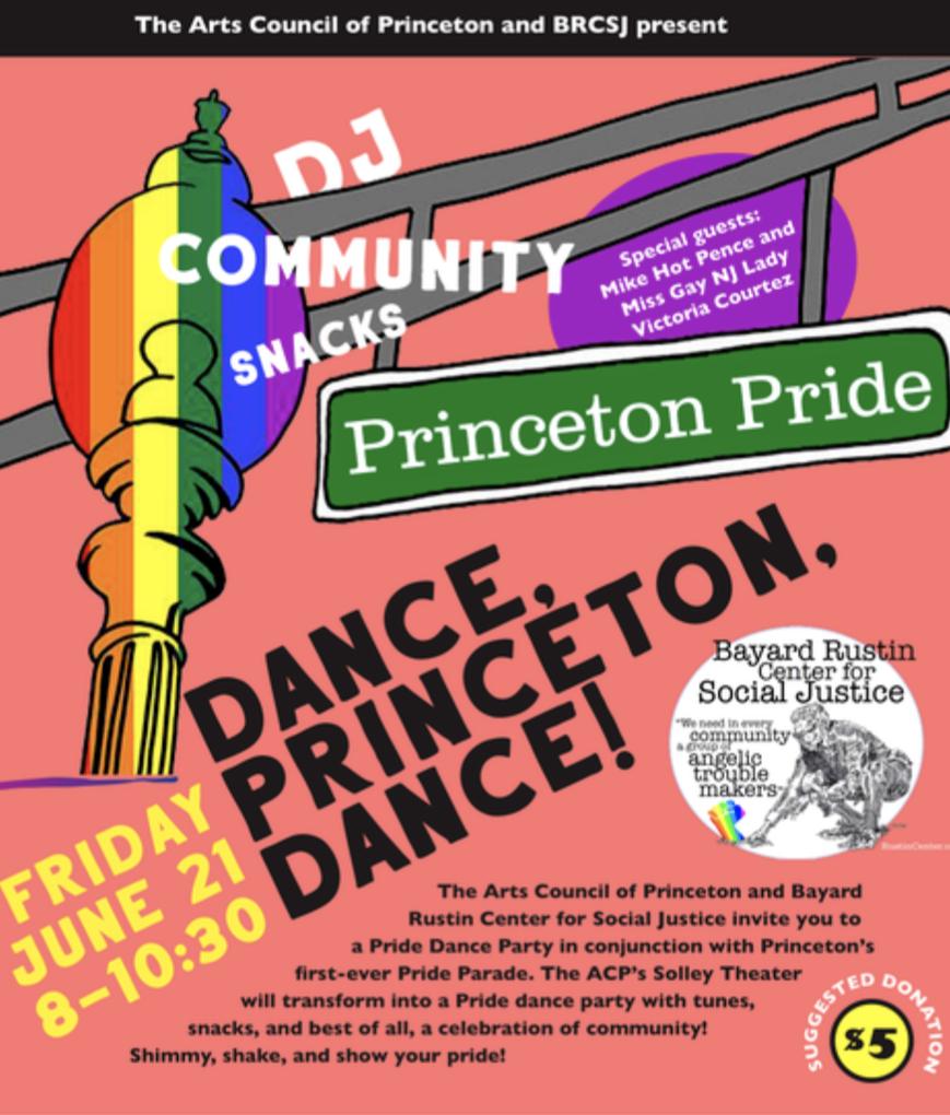 flyer image for the Princeton, NJ Pride Dance Party