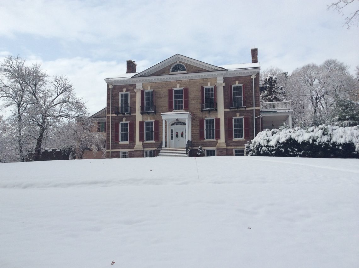 mansion front in snow